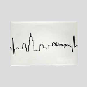 Chicago Heartbeat Letters Rectangle Magnet