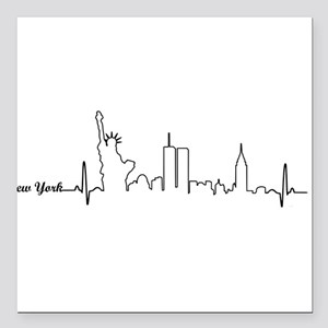 """New York Heartbeat Letters Square Car Magnet 3"""" x"""