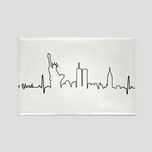 New York Heartbeat Letters Rectangle Magnet