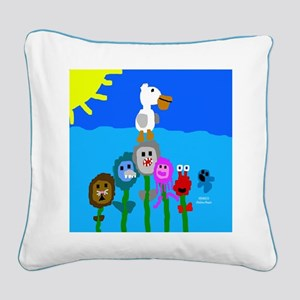 Fishy Flowers Square Canvas Pillow