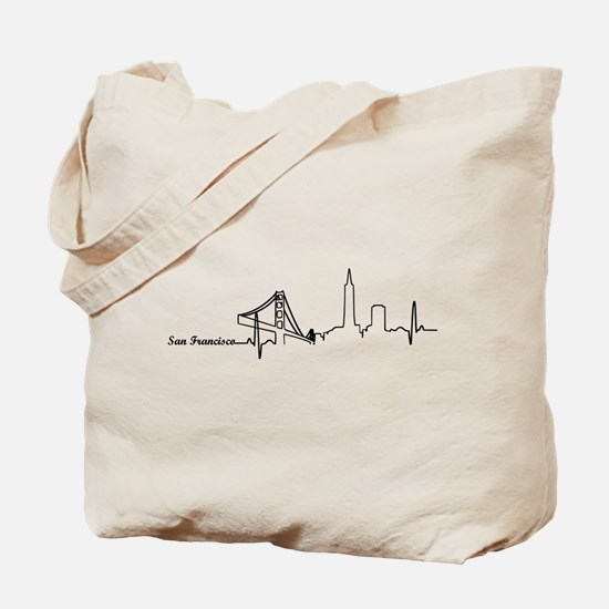 San Francisco Heartbeat Letters Tote Bag