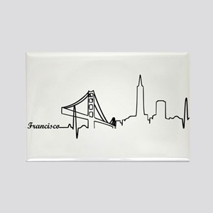 San Francisco Heartbeat Letters Rectangle Magnet
