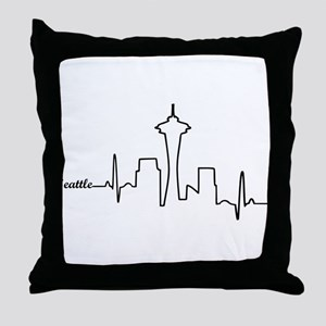 Seattle Heartbeat Letters Throw Pillow