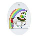 Rainbow Unicorn Oval Ornament