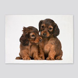 Longhaired Dachshund Siblings 5'x7'Area Rug