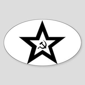 B/W Soviet Star Oval Sticker