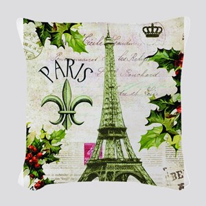 Vintage French Christmas in Paris Woven Throw Pill