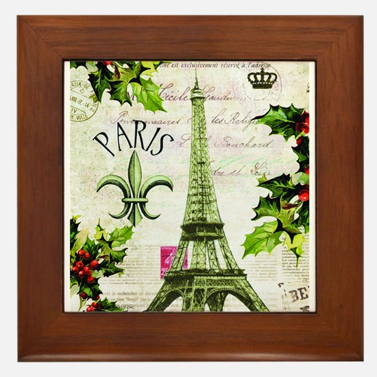 Vintage French Christmas in Paris Framed Tile