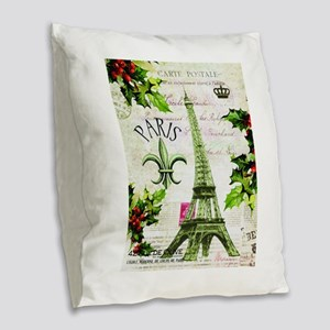 Vintage French Christmas in Paris Burlap Throw Pil