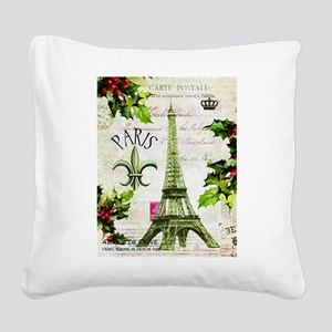 Vintage French Christmas in Paris Square Canvas Pi