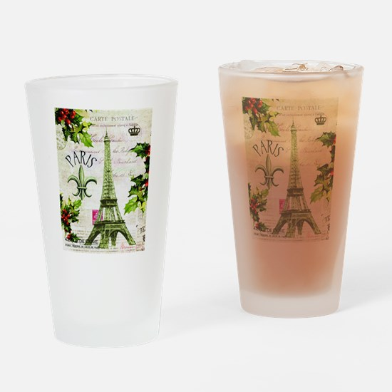 Vintage French Christmas in Paris Drinking Glass