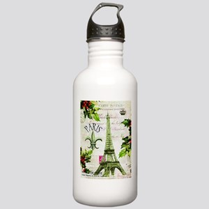 Vintage French Christmas in Paris Water Bottle