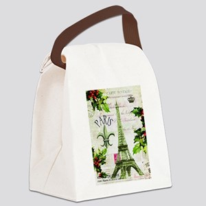 Vintage French Christmas in Paris Canvas Lunch Bag