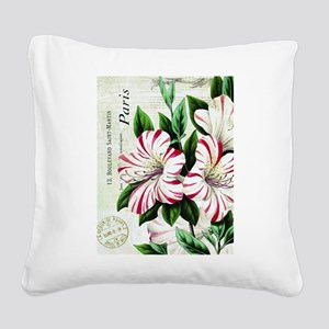 Vintage French Christmas amaryllis Square Canvas P