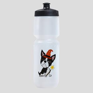 Boston Terrier Halloween Art Sports Bottle