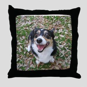 Corgi in Autumn Leaves Throw Pillow
