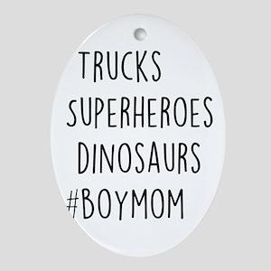 #BoyMom Oval Ornament
