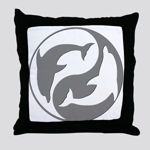 Grey And White Yin Yang Dolphins Throw Pillow