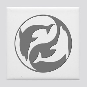 Grey And White Yin Yang Dolphins Tile Coaster
