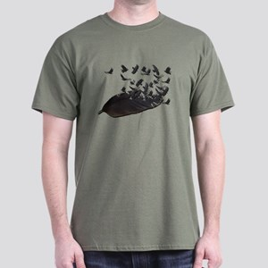 Flying Crow Feather Dark T-Shirt