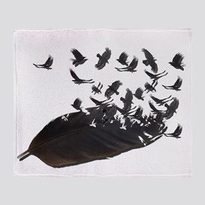 Flying Crow Feather Throw Blanket