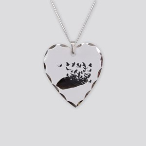 Flying Crow Feather Necklace Heart Charm