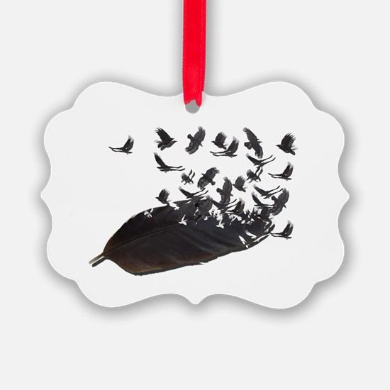 Flying Crow Feather Ornament