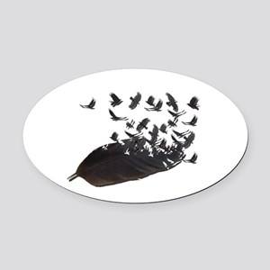 Flying Crow Feather Oval Car Magnet