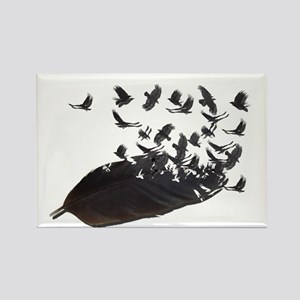Flying Crow Feather Rectangle Magnet