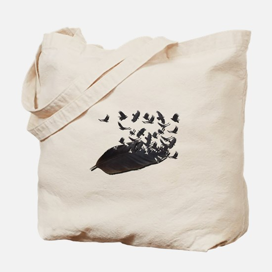 Flying Crow Feather Tote Bag