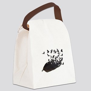 Flying Crow Feather Canvas Lunch Bag