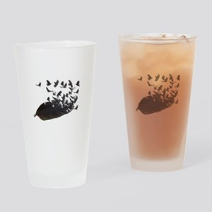 Flying Crow Feather Drinking Glass