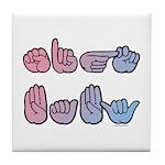 Pink-Blue SIGN BABY Tile Coaster