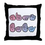Pink-Blue SIGN BABY Throw Pillow
