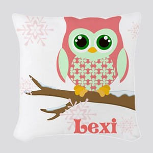 Custom name winter owl girl Woven Throw Pillow