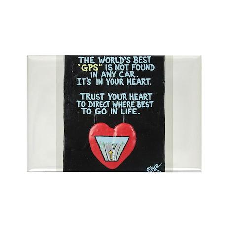 GPS Heart / Sculpted Art Rectangle Magnet