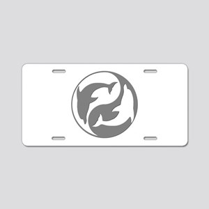 Grey And White Yin Yang Dolphins Aluminum License