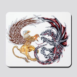 Griffin Fighting Dragon Mousepad