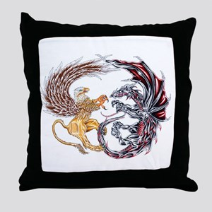 Griffin Fighting Dragon Throw Pillow