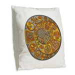 Celtic Crescents Burlap Throw Pillow