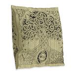 Celtic Tree of Life Ink Burlap Throw Pillow