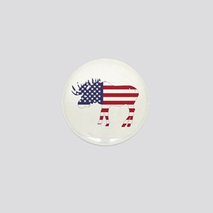 US Flag Moose Mini Button