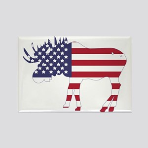 US Flag Moose Rectangle Magnet