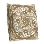 Celtic Spiral Stepping Stone Burlap Throw Pillow