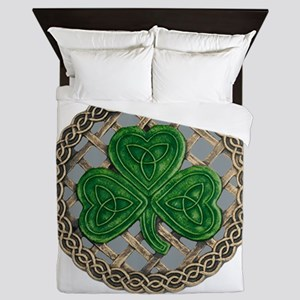 Shamrock And Celtic Knots Queen Duvet