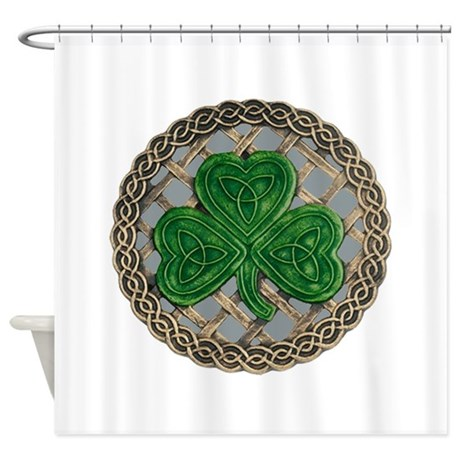 Shamrock And Celtic Knots Shower Curtain by atteestudegifts