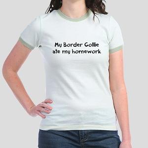 Border Collie ate my homework Jr. Ringer T-Shirt