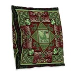 Celtic Dragon Labyrinth Burlap Throw Pillow