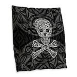Celtic Skull and Crossbones Burlap Throw Pillow