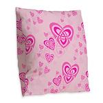 Pink Celtic Hearts Burlap Throw Pillow